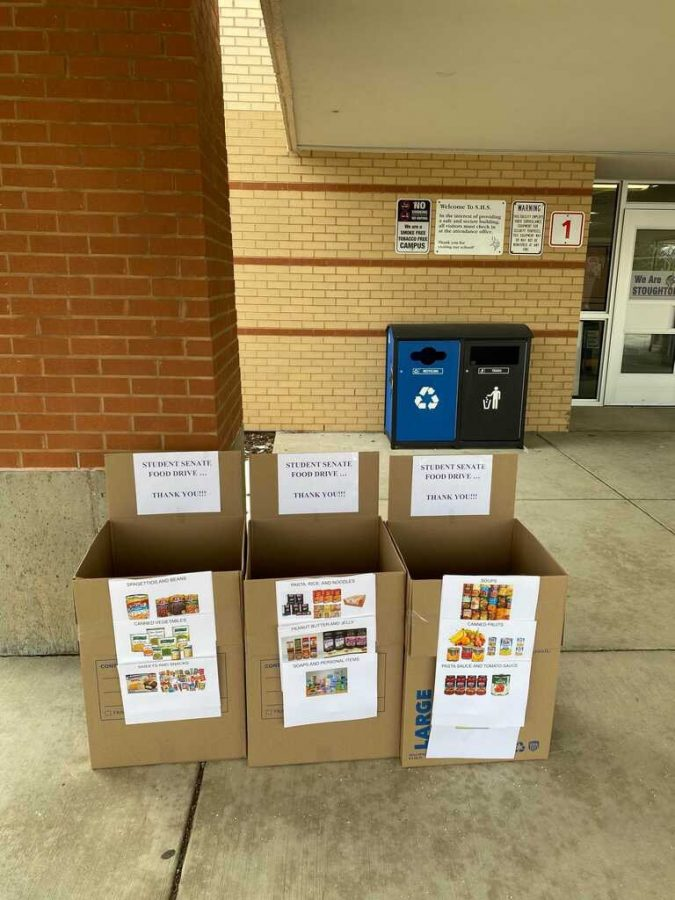 Student Senate set up one of the donation sites at the front entrance of SHS. The other two are located at Fox Prairie and Kegonsa.
